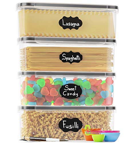 Chefs Path Airtight Food Storage Container Set - Ideal for Pasta Spaghetti Noodles - 4 PCAll Same Size - Kitchen Pantry Organization and Storage - Plastic Canisters with Durable Lids