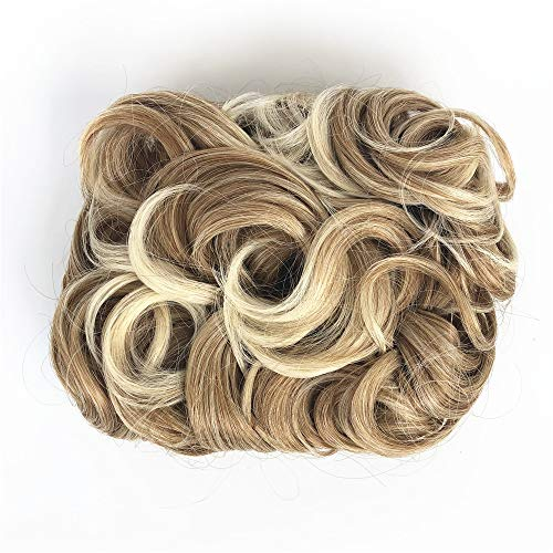 ZZRRYY Premium Messy Curly Dish Hair Bun Extension, Easy Stretch hair Combs Clip in Ponytail, Upgraded Scrunchies Chignon Tray Ponytail Hairpieces ( Blonde Mixed - #27T613)