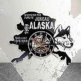 LTOOD The Last Frontier Alaska Vinyl Record Reloj de Pared USA Paisaje Urbano Reloj de Pared North To The Future Juneau Wall Watch Alaska Dog Decor