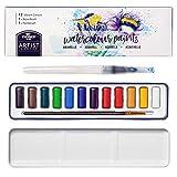 Stationery Island Serie de Artistas de Pintura de Acuarela - 12 Colores Pan Completos + 1 Pincel de Acuarela + 1 Paleta Acuarela en Estuche de Lata. Juego de arte ligero y portátil.