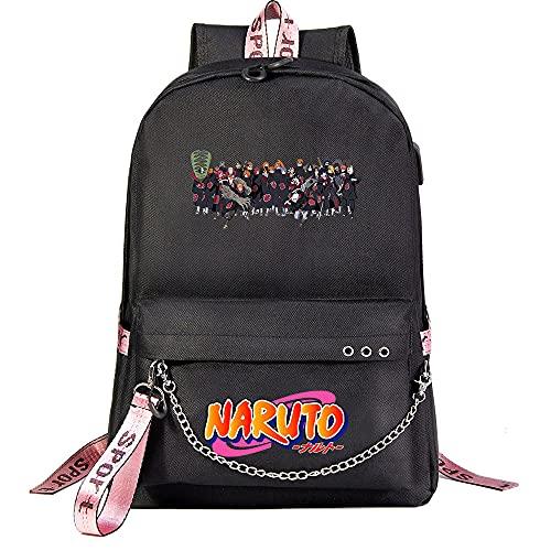 ZZGOO-LL Naruto/Sharingan/Akatsuki with Chain USB Bolsa de Hombro Mochila para Exteriores para un montón de Almacenamiento Bolsa Unisex Black-D