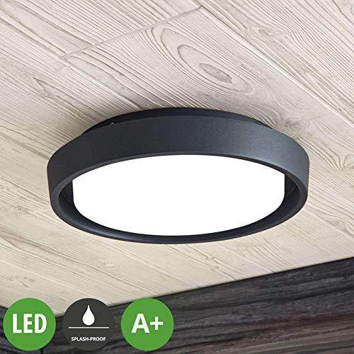 Lampenwelt LED Deckenleuchten 'Birta' (spritzwassergeschützt) (Modern) in Alu aus Aluminium (A+, inkl. Leuchtmittel) - Außenleuchte für Garten, Terasse, Balkon & Haus, LED-Deckenleuchte