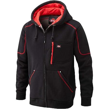 Lee Cooper LCSWT105 Mens Work Safety Zip Up Winter Fleece Lined Bonded Fleece Hoodie Sweatshirt, Black, 2X-Large