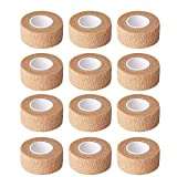 1 Inch Wide Skin Colour Elastic Self- Adhesive Bandage Finger Tape,First Aid Wrap Bandages, for Wrist and Ankle Sprains & Swelling-12pcs
