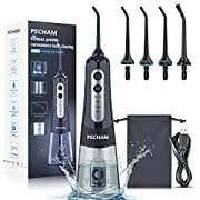 Water Flosser for Teeth, PECHAM Portable Cordless Oral Irrigator Water Dental Flosser IPX7 Waterproof 300ML 3 Modes 4 Jet Tips Deep Clean Helps Whiten Teeth, USB Rechargeable for Travel