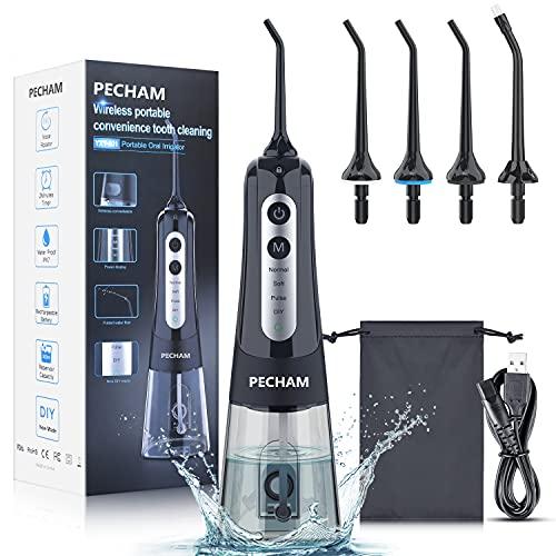 Water Flosser for Teeth, PECHAM Portable Cordless Oral Irrigator Water...