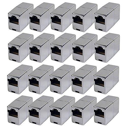 BIGtec 20 Stück RJ45 Ethernet LAN Kabel Kupplung Adapter Verbinder Netzwerk Modular Netzwerkkoppler für Patchkabel Netzwerkkabel Ethernetlan Ethernetkabel verlängern Verlängerung
