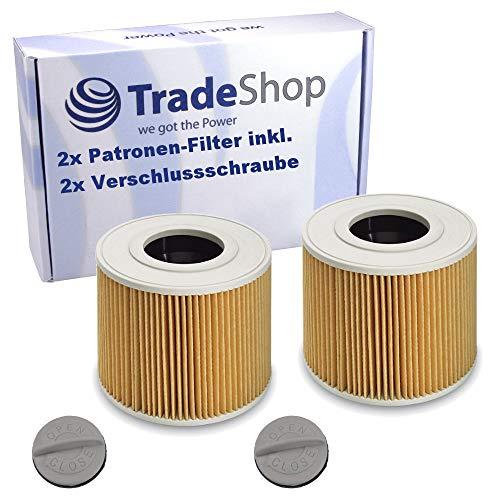 2 filtros de cartucho, incluye tornillo de cierre, para Kärcher 6.414-789 6.414-789.0 NT 27/1 ME Professional NT 48/1 TE Professional NT 27/1 ME 1.428-101.0 NT 27/1 ME Professional 1.428-106.0