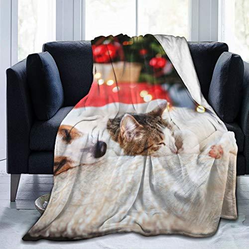 Gato Perro durmiendo Debajo árbol Navidad Manta Lana