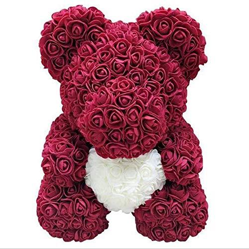 Künstliche Rose Teddybär, kreative Geschenk-Rosen-Blumen-Bär for Valentinstag, Jahrestag, Hochzeit, Geburtstag (Color : Red wine, Size : 25cm)