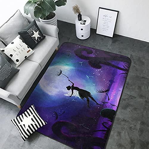 Alfombra y Felpudo Impresión 3D Cielo Estrellado púrpura Dormitorio Sala de Estar Habitación de Los Niños Pasillo Antideslizante Mesa y Silla Cojín Alfombra Decorativa 40X60 cm