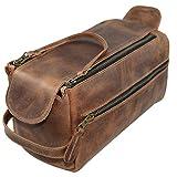 Hide & Drink, Leather Toiletry Bag w/ Handles, Hygiene Organizer, Travel Dopp, Bathroom, Shaving, Storage, Travel & Grooming Essentials, Handmade Includes 101 Year Warranty :: Bourbon Brown