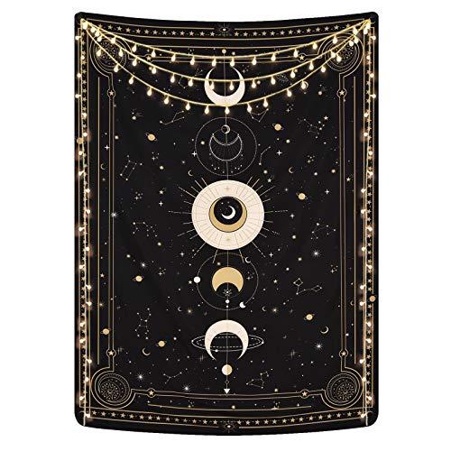Elloevn Mond Wandteppich, Schwarze Tarotkarten Wandtuch, Geheimnisvoll Sternenhimmel Wandbehänge, Retro Astrologie Tapesserie Wandkunst für Schlafzimmer, (Schwarz Rosa) 150x130 cm