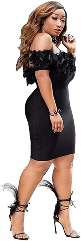Women's Plus Size Dresses Sexy Off The Shoulder Low Chest Short Skirt Fashion Cocktail Night Club Party No Zip Dress Black
