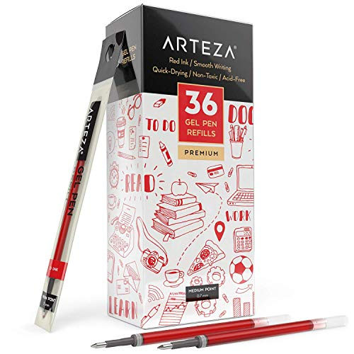Arteza Gel Pen Refills, Pack of 36 Red Roller Ball Gel Ink Pen Refills, Quick-Drying, Nontoxic, Fine Point, Office Supplies for Writing, Taking Notes & Sketching