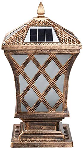 HZWLF LED Solar Post Cap Lights,IP65 Waterproof Garden Lamp Post Outdoor with Remote Control,Solar Panel Pillar Lamp Aluminum Column Lamp Vintage for Front Door Yard Patio Landscape