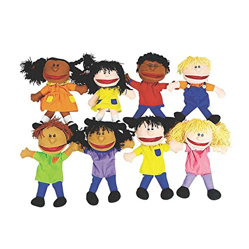 Happy Kids Hand Puppets Multi Ethnic and Diversity Collection (Set of 8 for kids) Great for Daycare...