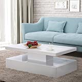 Mecor Modern Glossy White Coffee Table W/LED Lighting, Contemporary Rectangle Design Living Room Furniture