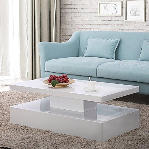 Mecor Modern Glossy White Coffee Table W/LED Lighting