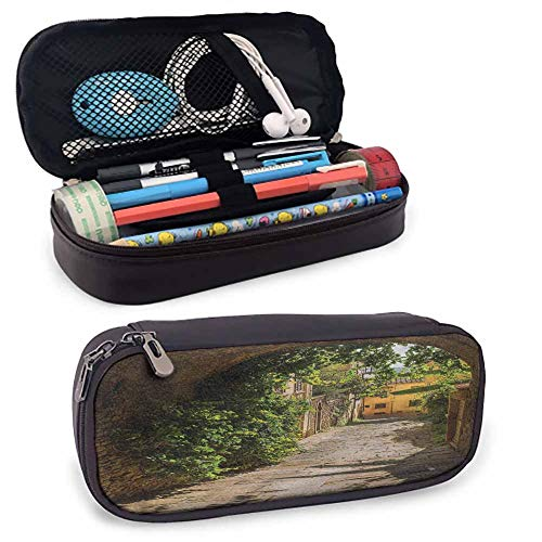 Medieval PU Leather Small Pencil Pouch, Old Street of Tuscany for Pen, Pencil, Samsung, Huawei, Pen Accessories, USB Cable, Earphone, Fountain Pen 8'x3.5'x1.5'