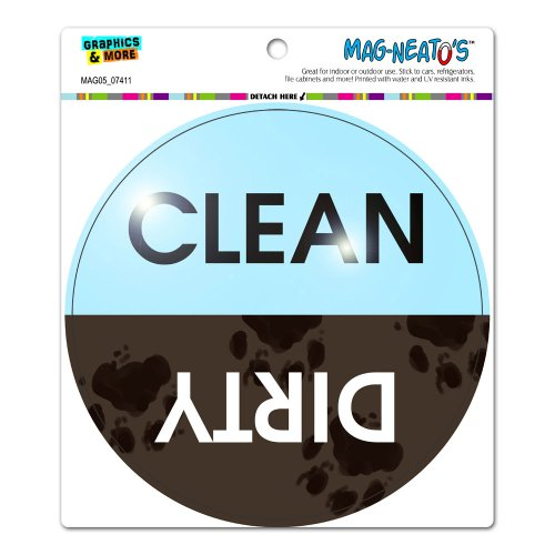Price comparison product image Graphics and More Dishwasher Clean Dirty Muddy Paw Prints - Circle Automotive Car Refrigerator Locker Vinyl Magnet
