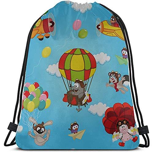 Bouia Cartoon Parachutespringen Extreem Sport String rugzak voor jongens polyester trekkoord Party Waterdichte string rugzak voor fitness Studio reizen