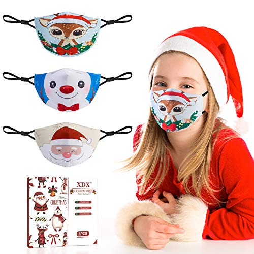 XDX Kids Face Mask, Christmas Face Mask Reusable & Breathable with Cute Pattern, Cloth Face Mask with Adjustable Elastic Ear Loop & Filter Proket, Gifts for Girls Boys (3-Pack)