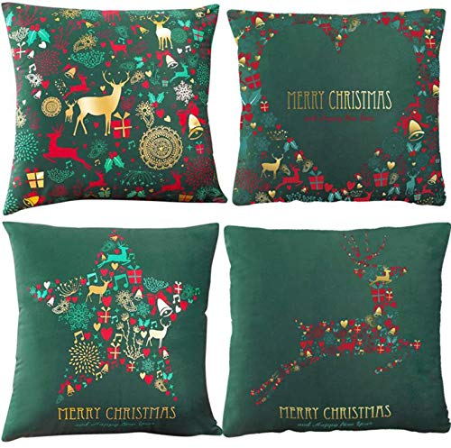 lyasuta Christmas Cushion Covers Cases,Soft Short Velvet Pillowcases Decorative for Xmas Sofa Bed Chair Living Room Home Decoration,18 x 18 inches(4pcs) (green)
