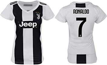 Panini Group Cristiano Ronaldo Juventus #7 Women's Soccer Jersey Home Short Sleeve Adult Sizes