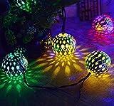 Jardin Cour Maroc Boule De Fer En Forme De Boule Solaire Chaîne De Lumière En Plein Air Étanche 20LED Couleur 8 Mode