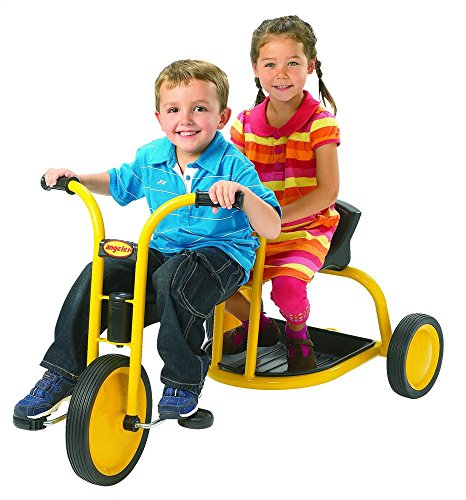 Angeles MyRider Tandem Bike, Yellow – Perfect for Two Riders Ages 3+, Encourages Active Play, Social Interaction, Supports Up to 140lbs., Durable Tricycle Design, Solid Tires, Built-In Safety Features