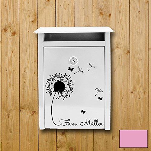 Sticker mural ilka parey Wandtattoo-welt® - M1877 - Pour une boîte aux lettres - Motif : pissenlits - Avec votre nom de famille - Personnalisable