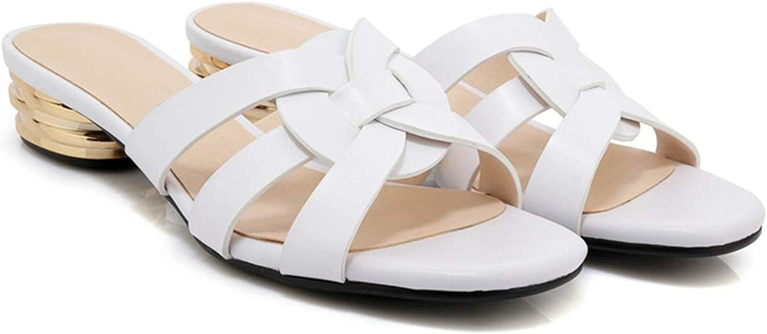 I Need-You Genuine Leather Women Sandals Summer Lady Casual Dress shoes Woman White Apricot Slippers Sandals