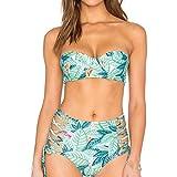 Franterd Women Bikini Summer Leaves Print Two Piece Sexy Crop Bra with Bandage...