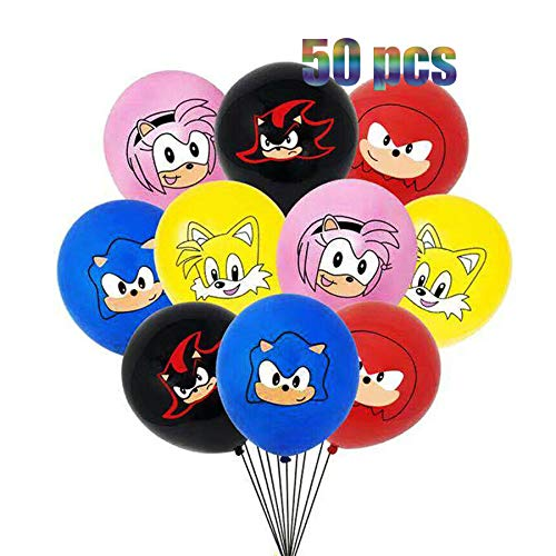 50 pcs Baby Cute Hedgehog Sonic Party Supplies - 12 Inch Latex Balloons 5 color For Sonic Theme Kids Baby Shower Birthday Party Decorations