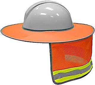 Tiction Hard Hat Sun Shield - Full Brim Mesh Neck Sun Shade Protector - High Visibility,Reflective (Hard Hat Not Included)(1, Orange)