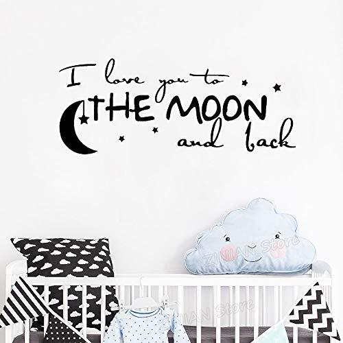 yaonuli Romantische tekst muursticker aftrekplaatje Ik hou van je maan ronde kleuterschool babykamer niet giftig Applique kunst muurschildering