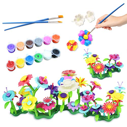 Byserten Kids Painting Crafts Build & Paint Your Own Flower DIY Arts Craft Set Stem Toy Gardening Pretend Play Activity Playset Children Christmas Birthday Gifts for 3 4 5 6 Year Old