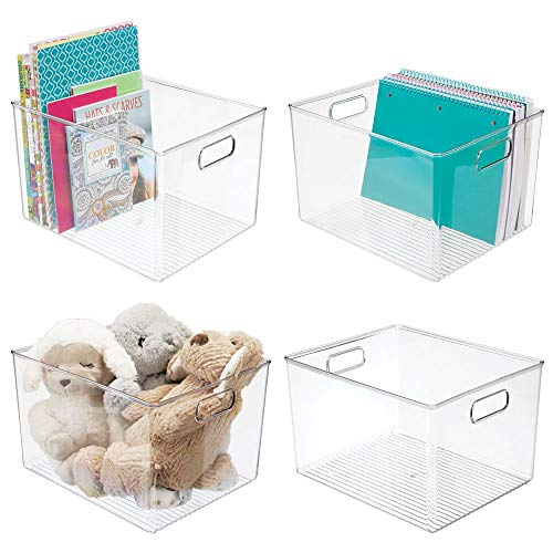 mDesign Deep Plastic Home Storage Organizer Bin for Cube Furniture Shelving in Office Entryway Closet Cabinet Bedroom Laundry Room Nursery Kids Toy Room  12quot x 10quot x 8quot  4 Pack  Clear