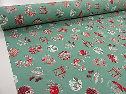 Metraje tejido 100% algodón estampado Ref. Gekko, doble ancho 2,80 mts. (Verde, 2,45x2,80m)