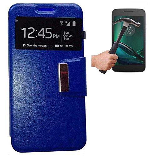Todobarato24h Funda Libro Ventana Azul Motorola Moto G4 Plus + Protector DE Cristal Templado