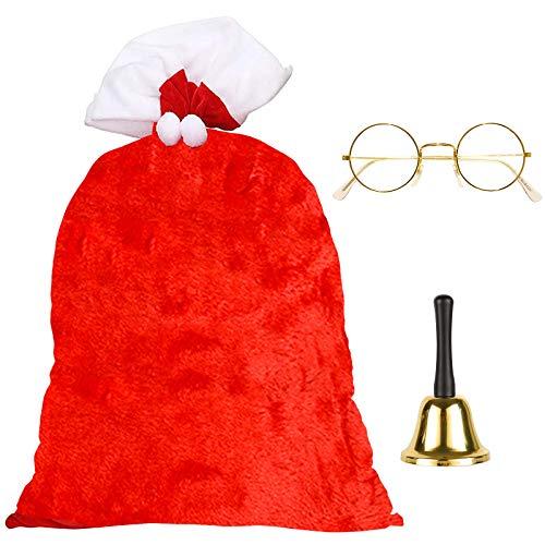 Hook Weihnachtssack Nikolaussack Groß, Weihnachtsmann Sack Groß Geschenkesack Weihnachten(Rot und Weiss, 70 x 110 cm, weihnachtsmann Brille, Weihnachtsmannglocke Glocke