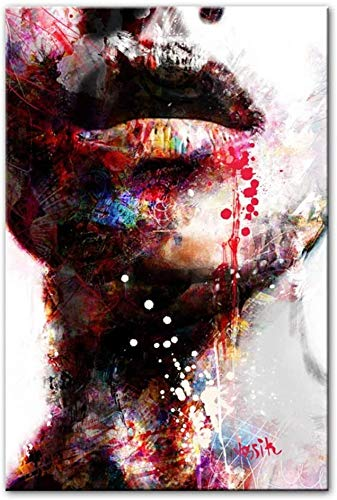 Surfilter Stampa su tela Arte astratta da parete Stampe su tela Labbra sexy Quadri da parete Pop Stampe Immagini decorative moderne per pareti domestiche 19.6& rdquo; x 27.5& rdquo; (50x70cm) Sen