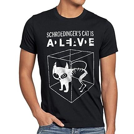 style3 Gato de Schrödinger Camiseta para Hombre T-Shirt Sheldon, Talla:S;Color:Nero