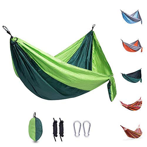 WOLF WALKER Camping Hammock Double & Single Portable Travel Hammock with 2 Tree Straps and Carabiners, Lightweight Parachute Nylon Hammocks for Outside, Backyard, Hiking, Backpacking, Travel-Green