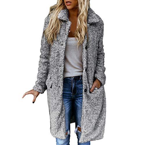 Kunstpelz Jacke Mantel Damen Herbst Winter Revers Kunstfelljacke mit Knopfverschluss,Kanpola BeiläUfige Longblazer PlüSchjacke Outwear