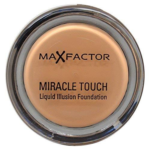 Max Factor Miracle Touch Foundation Sand 60 – Grundierung, die von fest zu flüssig wechselt – Für einen absolut ebenmäßigen Teint – 1 x 12 ml