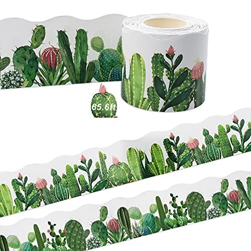 Cactus, cenefa adhesiva, 20 m, 2 caras, con diferentes plantas tropicales, cenefa decorativa para Acción de Gracias, Halloween, fiestas, aulas, escuela (B)