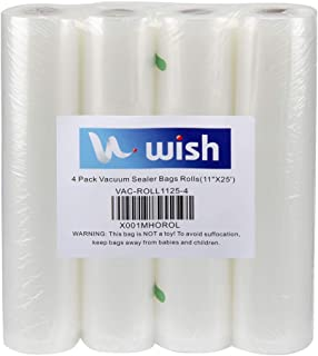 Vacuum Sealer Bags Rolls (4-Pack), WISH 11 Inch X 25 Feet Fit Inside Machine Heavy Duty Embossed Food Storage Saver Bags Rolls Compatible with All Vacuum Sealers and Sous Vides (Total 100 Feet)