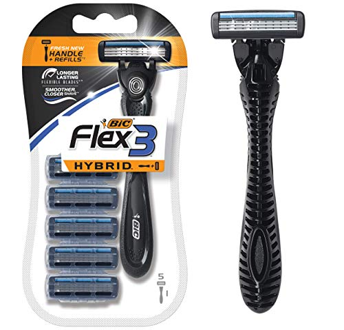 BIC Flex 3 Hybrid Men's 3-Blade Disposable Razor, 1 Handle and 5 Cartridges